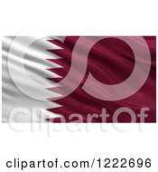 Clipart Of A 3d Waving Flag Of Qatar With Rippled Fabric Royalty Free Illustration