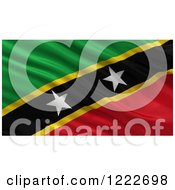Clipart Of A 3d Waving Flag Of Saint Kitts And Nevis With Rippled Fabric Royalty Free Illustration