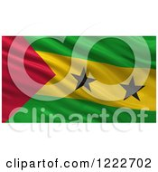 Clipart Of A 3d Waving Flag Of Sao Tome And Principe With Rippled Fabric Royalty Free Illustration
