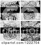 Clipart Of A Distessed Grayscale Swirl Backgrounds With Text Royalty Free Vector Illustration