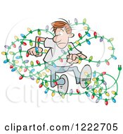 Clipart Of A Man Dancing With Tangled Christmas Lights Royalty Free Vector Illustration
