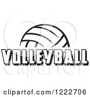 Clipart Of A Black And White Ball With VOLLEYBALL Text Royalty Free Vector Illustration by Johnny Sajem