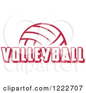 Clipart Of A Cardinal Red Ball With VOLLEYBALL Text Royalty Free Vector Illustration by Johnny Sajem