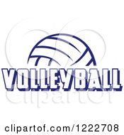 Clipart Of A Navy Blue Ball With VOLLEYBALL Text Royalty Free Vector Illustration by Johnny Sajem