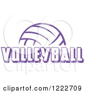 Clipart Of A Purple Ball With VOLLEYBALL Text Royalty Free Vector Illustration by Johnny Sajem