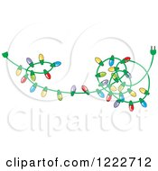 Clipart Of A Tangled Strand Of Christmas Lights With Colorful Bulbs Royalty Free Vector Illustration by Johnny Sajem