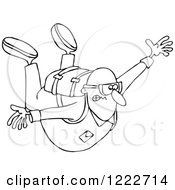 Clipart Of A Nervous Guy Falling While Sky Diving Royalty Free Vector Illustration by djart