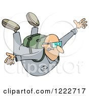 Clipart Of A Nervous Man Falling While Sky Diving Royalty Free Illustration