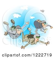 Woman And Men Falling While Sky Diving Over Blue Sky