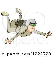 Clipart Of A Woman Falling While Sky Diving Royalty Free Illustration