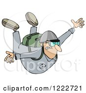 Clipart Of A Man Holding His Arms Out While Sky Diving Royalty Free Illustration