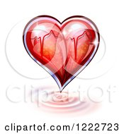 Clipart Of A Glass Heart With A Graph Over Ripples Royalty Free Vector Illustration