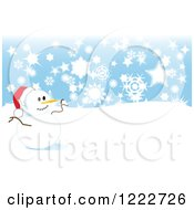 Happy Snowman In A Santa Hat On A Hill With Snowflakes