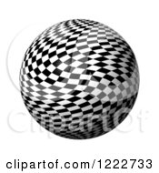 Clipart Of A 3d Chessboard Checkered Globe Royalty Free Illustration