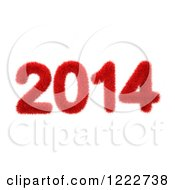 3d Red Fur New Year 2014 On White