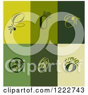 Clipart Of Green Olive Designs Royalty Free Vector Illustration by elena