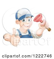 Clipart Of A Happy Male Plumber Wearing A Hat Holding A Thumb Up And Plunger Royalty Free Vector Illustration