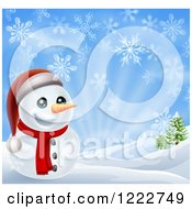 Clipart Of A Cheerful Snowman In A Hilly Landscape With Snowflakes Royalty Free Vector Illustration
