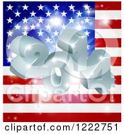 Clipart Of A 3d 2014 And Fireworks Over An American Flag Royalty Free Vector Illustration