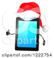 Clipart Of A 3d Christmas Tablet Computer Mascot Holding A Thumb Up Royalty Free Illustration