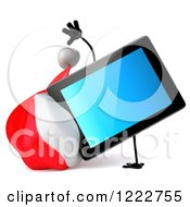 3d Christmas Tablet Computer Mascot Doing A Hand Stand
