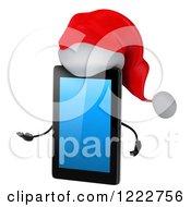 3d Christmas Tablet Computer Mascot Presenting