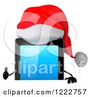 3d Christmas Tablet Computer Mascot Holding A Thumb Up Over A Sign