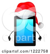 Clipart Of A 3d Christmas Tablet Computer Mascot Royalty Free Illustration by Julos