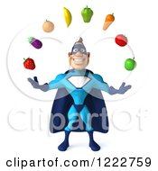 Clipart Of A 3d Super Hero Man In A Blue Costume Juggling Produce Royalty Free Illustration