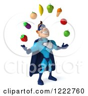 Clipart Of A 3d Super Hero Man In A Blue Costume Juggling Produce 2 Royalty Free Illustration