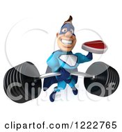 Clipart Of A 3d Strong Super Hero Man In A Blue Costume Holding A Steak And Lifting A Barbell Royalty Free Illustration