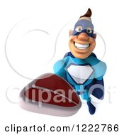 Clipart Of A 3d Super Hero Man In A Blue Costume Holding A Steak 3 Royalty Free Illustration