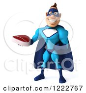 Clipart Of A 3d Super Hero Man In A Blue Costume Holding A Steak 4 Royalty Free Illustration