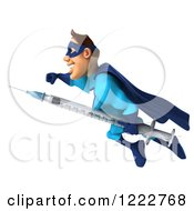 Clipart Of A 3d Super Hero Man In A Blue Costume Flying With A Vaccine Syringe Royalty Free Illustration
