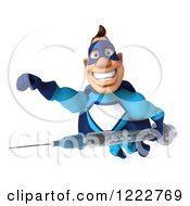 Clipart Of A 3d Super Hero Man In A Blue Costume Flying With A Vaccine Syringe 2 Royalty Free Illustration