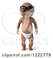Clipart Of A 3d Black Baby Boy Standing And Wearing Sunglasses Royalty Free Illustration