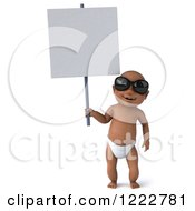 Clipart Of A 3d Black Baby Boy Wearing Sunglasses And Holding A Sign Royalty Free Illustration