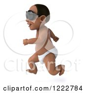 Clipart Of A 3d Black Baby Boy Wearing Sunglasses And Running Royalty Free Illustration