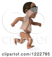 Clipart Of A 3d Black Baby Boy Wearing Sunglasses And Running 2 Royalty Free Illustration