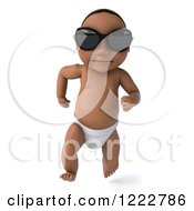 Clipart Of A 3d Black Baby Boy Wearing Sunglasses And Running 3 Royalty Free Illustration