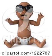 Clipart Of A 3d Black Baby Boy Wearing Sunglasses And Sitting Royalty Free Illustration