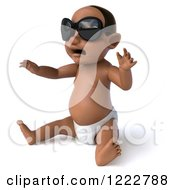 Clipart Of A 3d Black Baby Boy Wearing Sunglasses And Sitting 2 Royalty Free Illustration