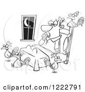Clipart Of A Black And White Tired Man With Chickens Around His Bed Royalty Free Vector Illustration