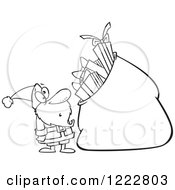 Clipart Of A Black And White Santa Staring At A Giant Sack Full Of Gifts Royalty Free Vector Illustration