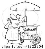 Clipart Of A Black And White Happy Shouting Hot Dog Vendor Man Royalty Free Vector Illustration by toonaday