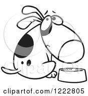 Clipart Of A Black And White Hungry Dog Looking Over His Shoulder By A Dish Royalty Free Vector Illustration