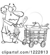 Clipart Of A Black And White Retiring Businessman With All Of His Belongings In A Wagon Royalty Free Vector Illustration