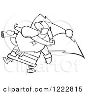 Clipart Of A Black And White Santa Carrying A Christmas Tree Royalty Free Vector Illustration