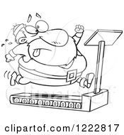 Clipart Of A Black And White Santa Trying To Run And Lose Weight On A Treadmill Royalty Free Vector Illustration
