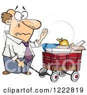 Clipart Of A Retiring Caucasian Businessman With All Of His Belongings In A Wagon Royalty Free Vector Illustration